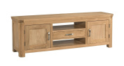 Crescent Curve Solid Oak 2 Door 1 Drawer Wide TV Cabinet / Contemporary TV Cabinet Fully Assembled