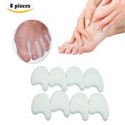Sumifun - 8 Piece of 100% All Gel Toe Separators Callus Cushions, Fits Small to Medium, Clear,Reuse