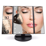 Dolovemk® Makeup 22 LED Lighted Mirror 1X/2X/3X Magnification Illuminated Mirror, Touch Sensor ON Lighted, Two-way Powered