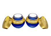 2PCS 20Gram Empty Glass Cosmetic Storage Containers with Liner and Screw Cap for Creams Sample Make Up Storage Blue