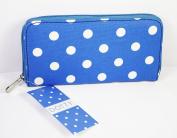 Blue and White Dotty Polka Dot Fold Purse, From The Leonardo Collection, 20x10cm Approx