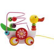 Wooden Duck Trailer Around Beads Educational Game Toys Kids Children Baby Gift