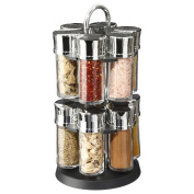 Rotating herb and spice rack with 12 glass jars filled with spices - Practical and .