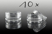 New Nail Art Clear Screw Top Jar Container EMPTY STORAGE BOX (Set of 10 Cans Accessories