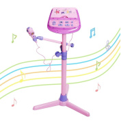 Kids Karaoke Microphone Adjustable Stand With External Music Function & Flashing Lights by Wishtime