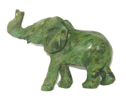 Green Serpentine Elephant Sculpture in Stone 12 cm Collectible Shona Sculpture