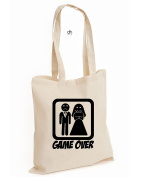 Game Over Wedding Tshirt Stag Hen Night Bride Marriage Unisex Cotton Tote Bag