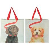 Esschert Design TP196 Shopping Bag Dog on Lead Assorted Polypropylene Webbing Polyester Shopping Bag - 39 x 14 x 39 cm