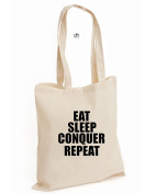 Eat Sleep Conquer Repeat Unisex Wrestling Gym Workout Power Cotton Tote Bag