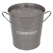 Dark Grey Metal Kitchen Compost Caddy & 50x All-Green Biobags - Composting Bin for Food Waste Recycling