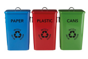 Premier Housewares Plastic, Paper and Cans Recycle Logo Bins, Multi-Colour, Set of 3