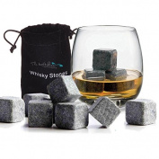 12 x Whisky Chilling Rocks Granite Ice Stones - Drinks Cooler Cubes for Whiskey Scotch on the Rocks with a Storage Pouch