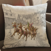 45x45cm Square Pillowcase,Kingko® Christmas White World Scene Dyeing Sofa Bed Festival Home Decor Pillow Case Car Cushion Cover