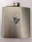 Gryphon R204 English Pewter Emblem on a 180ml Stainless Steel Hip Flask with Captive Top