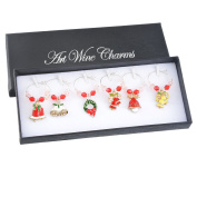 Souarts 6pcs Mixed Christmas Bell Pendants Wine Glass Charms Marker Tags Set with Gift Box