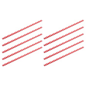 Rink Drink Plastic American Style Red Striped Drinking Straws - Pack Of 10