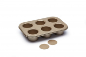 Paul Hollywood Kitchen Craft 6 Hole Non-Stick Deep Pie/ Tart Tin with Loose bases 27x18.5cm + Free Pork Pie Seasoning 100g