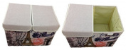GMMH Storage Box with Lid 47X31X34 cm Canvas Paris Rome England London Box Organiser