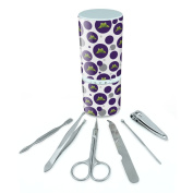 Manicure Pedicure Grooming Beauty Personal Care Travel Kit (Tweezers,Nail File,Nail Clipper,Scissors) - Frog Hop Froggy Ribbit Green Purple