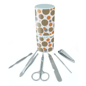 Manicure Pedicure Grooming Beauty Personal Care Travel Kit (Tweezers,Nail File,Nail Clipper,Scissors) - Chevrons Teal Chevrons on Peach