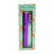 Purple Medium Glass Nail File Floral Crystal Design embellished with Crystals and Hard Case packaged in Floral Gift Box