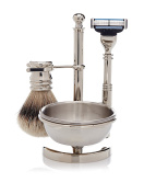 Golddachs Shaving Stand Silver with Soap Tray