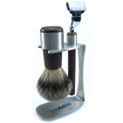 SHAVING SET 3-PIECE, STAINLESS STEEL WITH WENGE, BRUSH WITH BADGER PLUCK HAIR