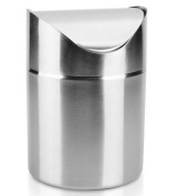 Crazy Shop Mini Stainless Steel Desk Waste Bin Countertop Trash Can for Kitchen Bathroom Office Use-1.5L