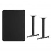 Flash Furniture 80cm by 110cm Rectangular Black Laminate Table Top with 13cm by 60cm Table Height Bases