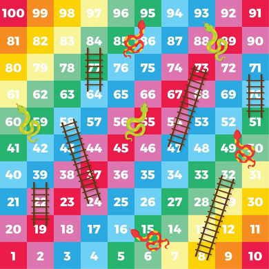 Snakes and Ladders Colourful Children's Vinyl Floor Mat Game