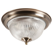 2 Light Antique Brass IP44 Bathroom Flush Ceiling Light with Clear ribbed Glass Shade