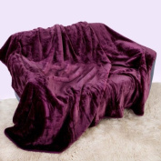 Mink Faux Fur Throw Aubergine / Plum / Purple 150x200, Large 2 Seater Sofa / Bed Blanket by Intimates