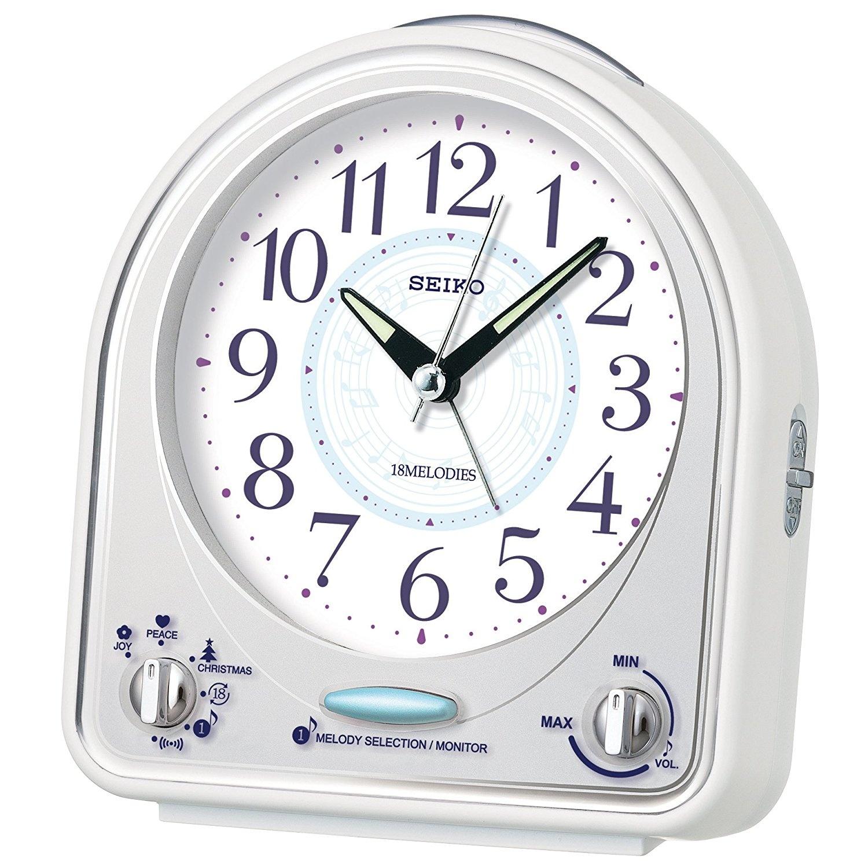 Seiko Alarm Clock Analogue Unisex White QHP003 W