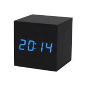 Tonsee 1PC Digital LED Black Wooden Wood Desk Alarm Brown Clock Voice Control