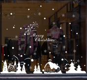 Saingace Christmas Shop Window Decoration Wall Stickers Christmas Snowflakes Town