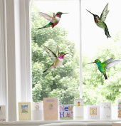 4 Beautiful Humming Bird Static Cling Window Stickers - Hummingbird Decorations by Stickers4