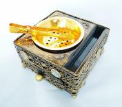 Bronze Metal Trinket Incense Box Decorative Arabian Bakhoor Burner Box with Drawer and Tongs