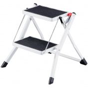 Home Vida Compact Anti Slip Mat Tread Heavy Duty 2-Step Stool Folding Kitchen Ladder, Metal, White/Black