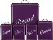 Chef Vida Biscuits/Tea/Coffee/Sugar/Bread Bin Kitchen Storage Canister Set, Metal, Purple, 5-Piece