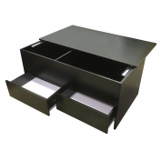 Redstone Coffee Table - Black or White - Slide Top with Storage Inside and 2 Drawers - Wooden Ottoman Storage Chest