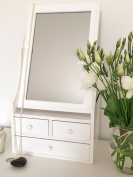 Dressing Table Mirror with Drawers in White