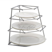 Cookspace ® Corner 4 Tier Heavy Duty Chrome Plated Plate Holder Stand / Plate Storage Rack, Space Saver