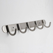 QT Premium Modern Wall Mounted Coat Rack with 5 Round Hooks - - Ultra durable with solid steel construction, Brushed stainless steel finish, Super easy installation, Rust and water proof