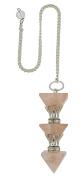 Harmonise Rose Quartz Stone 3 Pyramid Pendulum Beginner Reiki Healing Crystal Energy Generator Dowsing