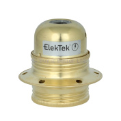 ElekTek E27 Lamp Bulb Holder 10mm Entry Edison Screw Earthed With Shade Rings & Cord Grip Brass