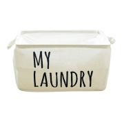 Hoomall White Foldable Laundry Hamper Large Cuboid Waterproof Closet Storage Bin Bag Storage Basket Bucket