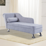 HOMCOM Deluxe Chaise Longue Designer Retro Vintage Style Sofa Lounge Day Bed With Bolster Cushion