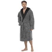 Mens Foxbury Marl Effect Hooded Two-Tone Shaggy Fleece Bathrobe Dressing Gown