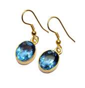 Sitara Collections SC10340 Gold-Plated Oval Hydro Glass Earrings, Blue