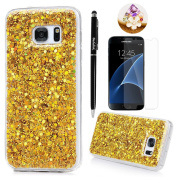 Badalink Galaxy S7 Case Shiny Glitter Sparkle Powder Series Shockproof Drop Protection Soft TPU Rubber Protective Bumper Sratchproof Slim-Fit Colourful Cover for Samsung Galaxy S7 - Yellow